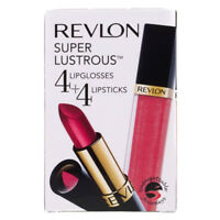 Revlon 4 Lipgloss & 4 Lipstick Ladies Makeup Gift Set Red Pink Nude Rose