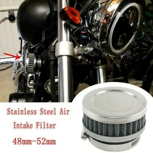 Motorcycle Scooter Stainless Steel Air-Intake-Filter + Clamp Universal 48-52mm.