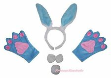 Easter Party Blue Bunny Rabbit Unisex Adult Headband Paw Tail Bow Costume Set