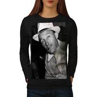 Wellcoda Bing Crosby Celebrity Womens Long Sleeve T-shirt, Famous Casual Design