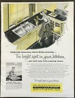 1955 Carlton Stainless Steel Sinks Print Ad The Bright Spot in Your Kitchen
