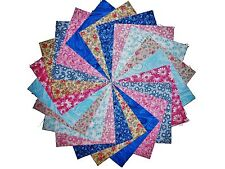 """40 5"""" Quilting Fabric Squares Shades Victorian Romance/Pinks and Blues!!"""