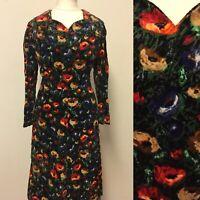 Vintage 1970s Velvet Dress Size 12-14 Floral Pattern Fitted Long Sleeve Autumn