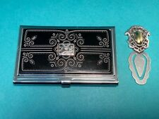 🌸 Brighton Black & White With Mirror Business Card Holder & Bookmark (B16) 🌸