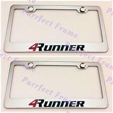 2X 4RUNNER Toyota Stainless Steel License Plate Frame Rust Free W/ Bolt Caps