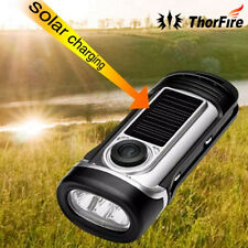 ThorFire Solar Power Rechargeable 3 LED Hand Held Crank Dynamo Flashlight Torch