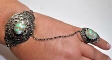 """Silvertone Faux Turquoise 7"""" Bracelet with Attached Ring Size 6 1/2"""