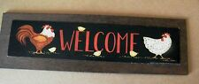 """6x20"""" country primitive chicken rooster WELCOME kitchen art decor picture sign"""