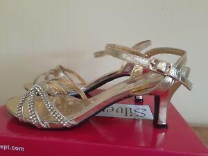 Silver Slipper Womens Gold Rhinestone High Heel Shoes SZ 8 Wide Formal Wedding