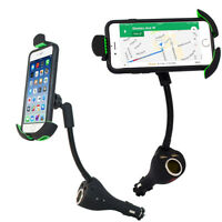Dual USB Car Charger Mount Phone Holder Cigarette Lighter Stand For Smart Phones