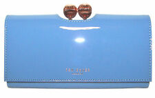 TED BAKER Bobble Matinee Blue Patent  Leather Flap Clutch Wallet NWT