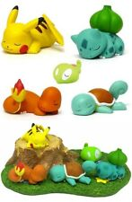 Pokemon Bulbasaur Squirtle Pikachu Sleeping Figure Toy Collection Doll + Base