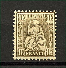 Switzerland 1862 1F Gold Sitting Helvetia sg60a cv£1700 Mint (Large Part O Stamp