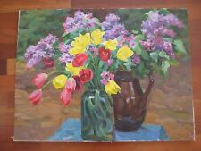 RUSSIAN SOVIET IMPRESSIONISM PAINTING OIL CANVAS 1970 STILLIFE KALMYKOV LILACS