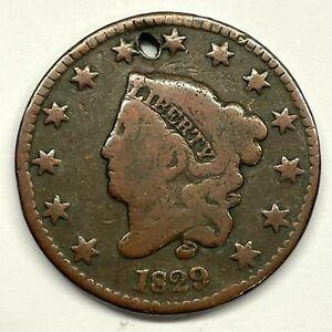 1829 1C Coronet Head Large Cent: Holed #2