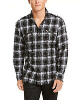 INC Mens Shirt White Black Size Small S Button Down Fray Jacquard Plaid $65 189