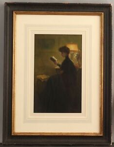 1904 Antique H. PASQUIER French Victorian Pastel Portrait Drawing, Woman Reading
