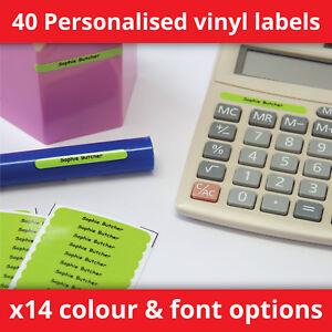 40 Personalised Stick On Name Labels Kids School Stationery Waterproof - HTL40