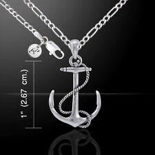 Anchor & Rope sterling silver Necklace Set by peter stone Nautical Jewelry