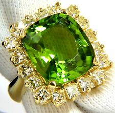 GIA Certified 15.25ct natural vivid green peridot diamonds ring 18kt cluster