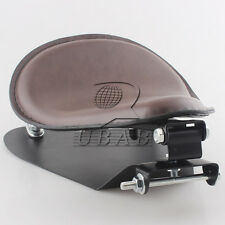 Brown Leather SoLo Seat Pan Cover Frame Barrel Spring For Harley Retro Universal