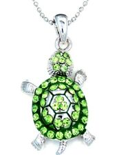 NWT TURTLE GREEN PENDANT CRYSTAL CHARM SILVER CHAIN NECKLACE GREEN