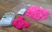 """FNF Jelly """"Shocking Pink"""" blobs on fasna barbless blob hooks, set of 6"""