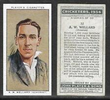PLAYER'S 1934 CRICKETERS A.W.WELLARD Card No 32 of 50 CRICKET CIGARETTE CARD