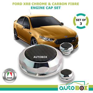 Ford Falcon Chrome & Carbon Billet Engine Cap Cover Set XR8 BA BF FG FPV