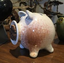 SIGNED & DATED Hand Made POTTERY Pig Piggy Coin Bank BIG MOUTH W/Cork