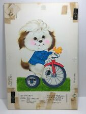 Vtg 73 Norcross Birthday Card Boy Dog Riding Tricycle Original Artwork Proof