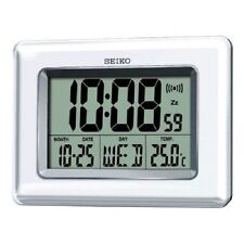 Seiko QHL058W Digital LCD White Snooze Day/Date Calendar Thermometer Alarm Clock