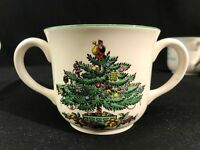 SPODE Christmas Tree  Double Handle Cup  ENGLAND Pattern S3324 Set Of 7