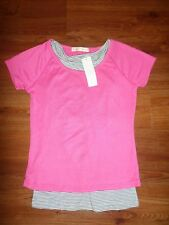 NEW TOKYO FASHION CO PINK TEE WITH BLACK/WHITE STRIPED UNDER TANK MED/LARGE