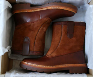 CLARKS 'TRACE FERN' TAN LEATHER & SUEDE COMBI PULL ON BOOTS BNIB UK3/35.5