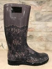 NIB Valentino Rockstud Black Nude Blush Lace Rubber Pull On RainBoots Boots 41