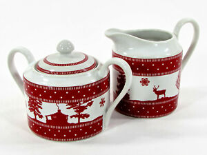 222 Fifth ADIRONDACK RED Creamer & Sugar Bowl Set 3Pc Christmas Cabin Bear Elk