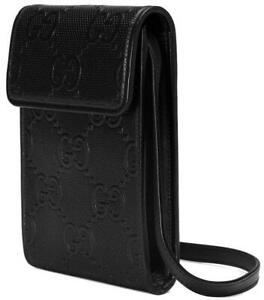 NEW GUCCI CURRENT BLACK GG EMBOSSED LEATHER MINI MESSENGER SHOULDER BAG