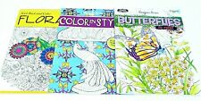 Adult Coloring Books Set Of 3 - Floral - Color In Style - Butterflies - Lot 113
