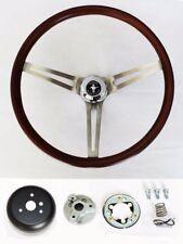 "1965-1969 Mustang Wood Steering Wheel Mustang Cap 15"" Low Gloss Finish"