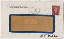 Stamp England 1&1/2d perfin SHL on S. H. Lock & Co Australia advertising cover