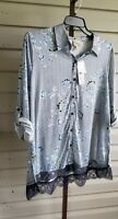Como Vintage Tunic Top Navy Flannel Lace Stretchy Plus Size 1X Rollup Sleeve NWT