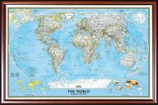 MAP OF THE WORLD by NATIONAL GEOGRAPHIC Walnut Gold Frame, Size 24x36