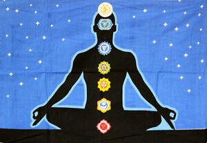 Wondreful Blue Color Seven Chakra Yoga Buddha Design Small Art Tapestry Poster