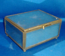 Vintage Art Deco Mirrored Metal Table Box for Desk or Jewelry Ball Feet Mirror