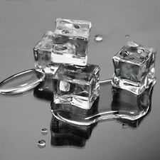 20pcs Counts/Pack Fake Artificial Acrylic Ice Cubes Crystal Clear 2x2CM Square