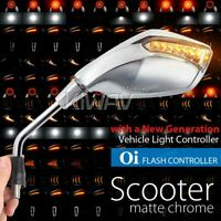 Fist LED Mirrors Chrome Flash Control  M8 1.25Pitch for Piaggio Liberty 125 3V