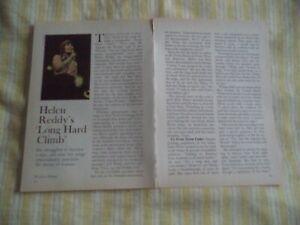 HELEN REDDY VINTAGE MAGAZINE ARTICLE   7   7    A      P