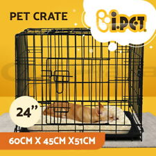 """i.Pet 24"""" Dog Cage Crate Puppy Cat Foldable Metal Kennel Portable 3 Doors S"""