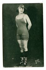 Vintage ARCADE CARD MACK SENNETT COMEDIES Silent Movies woman bathing suit studi
